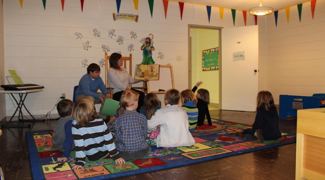 Children's church - children gathered for Bible story time