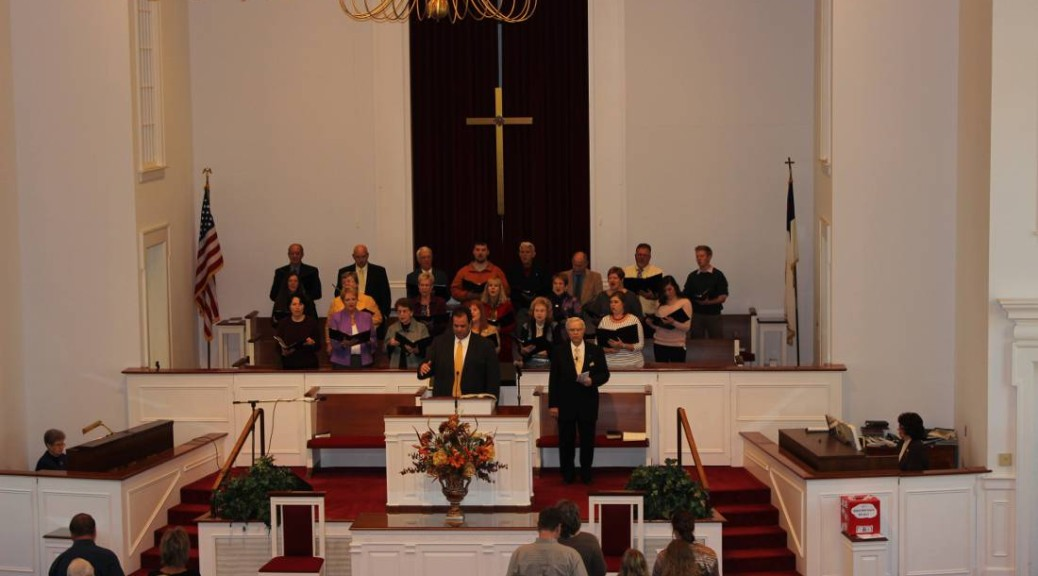 Choir singing during worship service