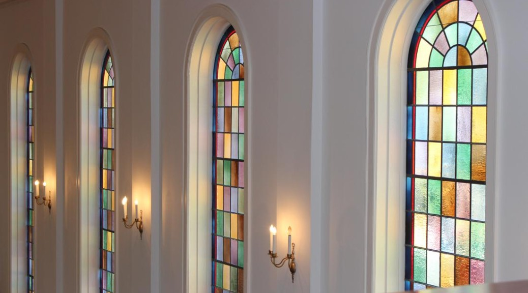 Stained glass windows in the sanctuary