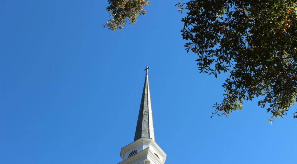 Steeple draws the eye to heaven.